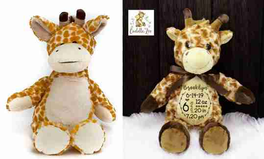 A plain giraffe next to an embroidered one.