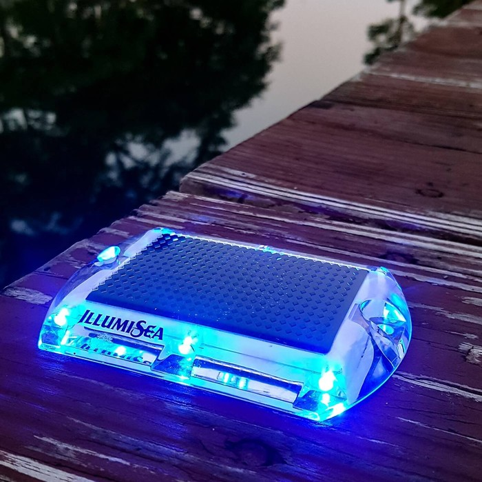 blue led solar dock waterproof lights
