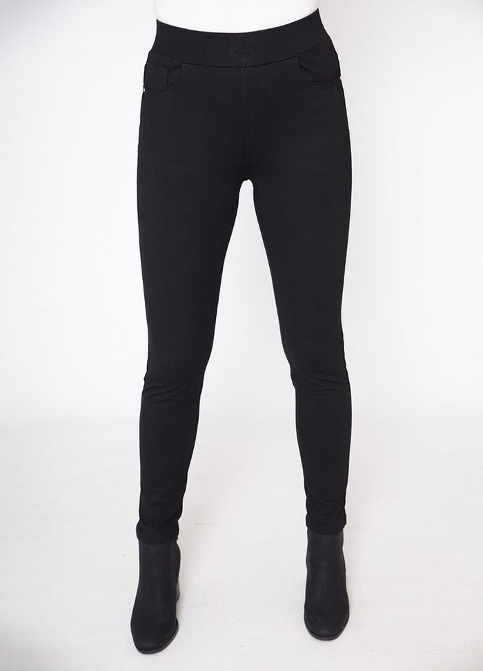 Stretch Waist Stud Pocket Trouser in Black