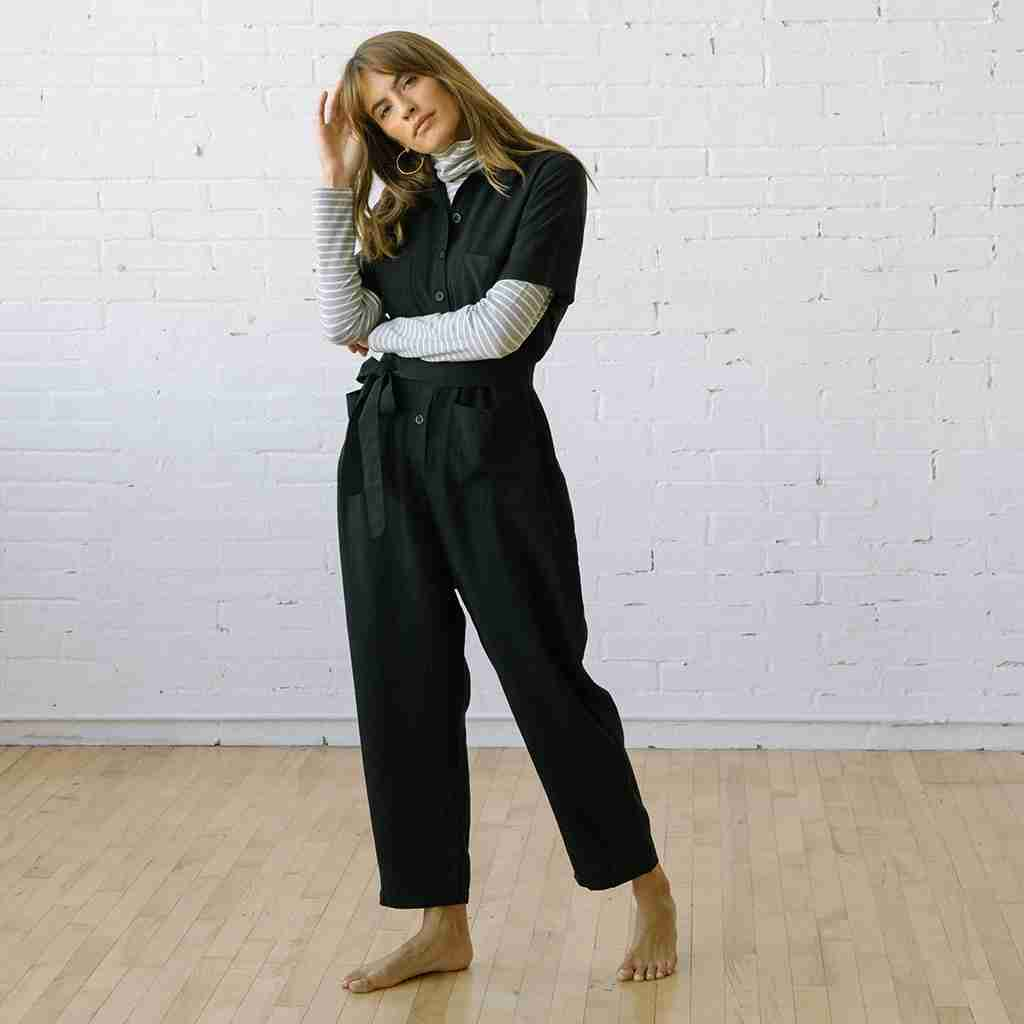 Finn Jumpsuit Black Linen Tencel