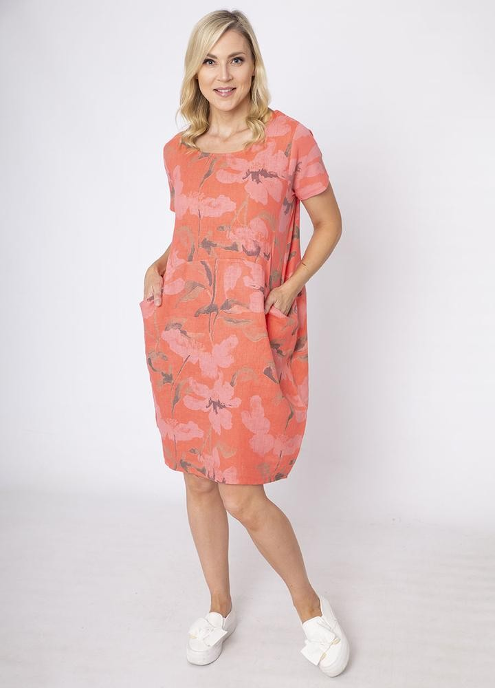 Cap Sleeve Floral Pocket Dress