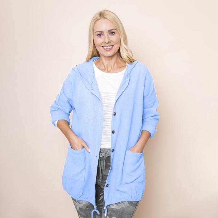 Crinkle Cotton Hoody Jacket in Blue