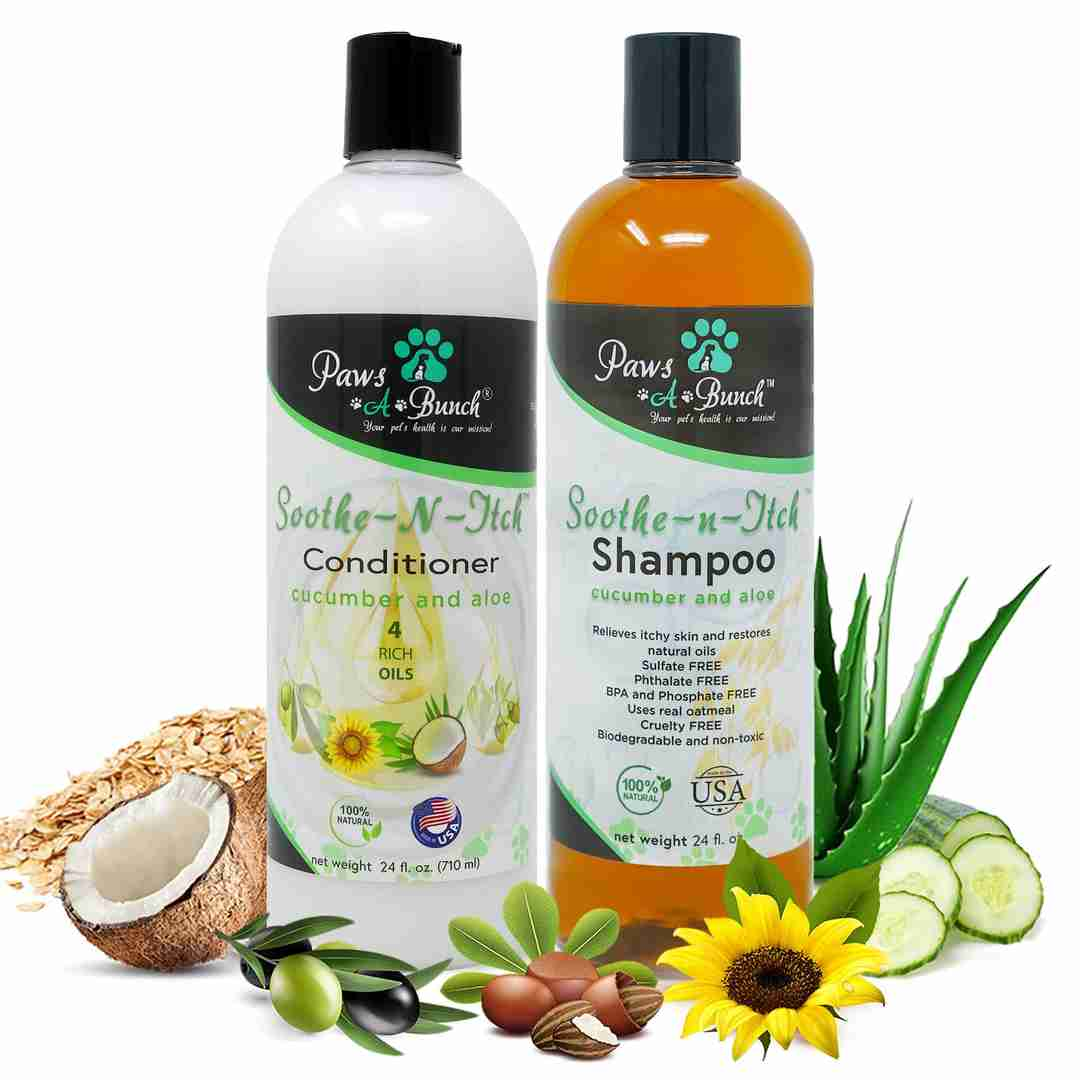 3 Bottles of Soothe-n-Itch Dog Conditioner by Paws-a-Bunch. Conditioner for Dogs and Cats Anti-Itch with Aloe, Olives, Sunflower Seeds, Coconut, and Cucumbers