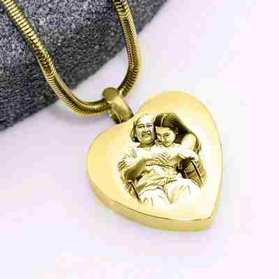 Heart Photo Personalized Cremation Necklace
