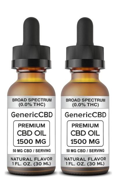 2 Bottles (1500 MG CBD Each) CBD Oil Drops. (Natural Flavor)