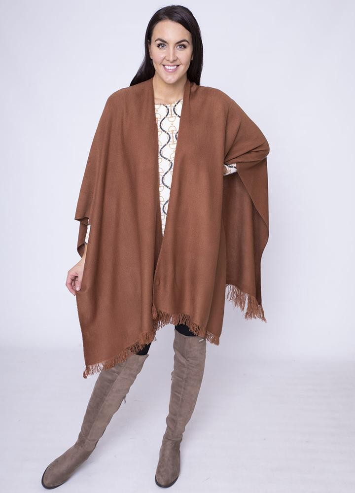 Frill Wrap Poncho in Brown