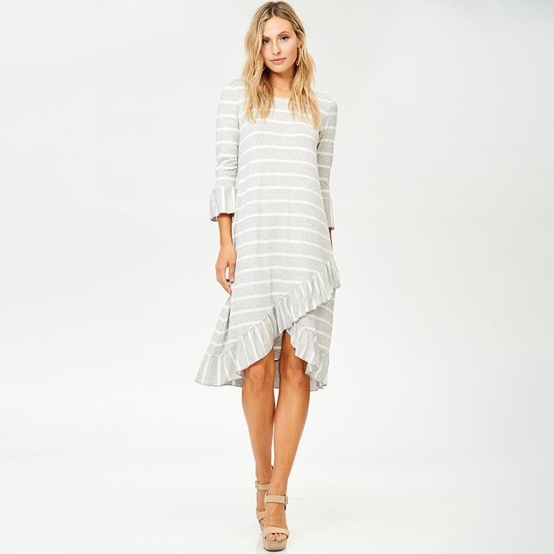 Ester Wrap Midi Dress Grey