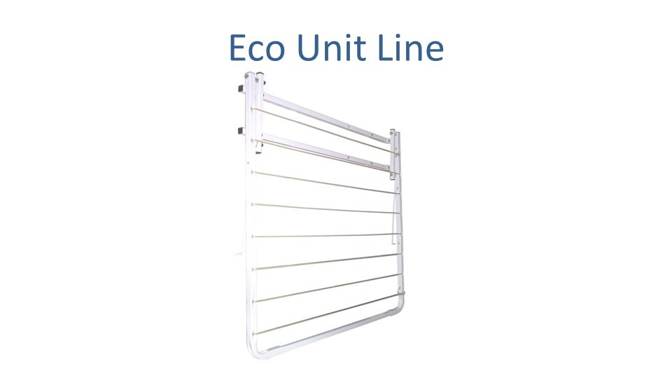 eco unit line clothesline modified to 0.6m wide by 0.75m deep folded down flat to wall