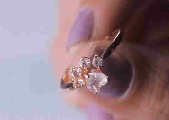 Blush & Bar Bella Paw Rose Quartz Cluster ring in rose gold