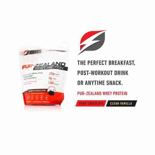 Pur-Zealand Whey Protein Pure Chocolate Clean Vanilla Breakfast Workout Drink