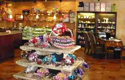 A shop filled with chocolates and gift baskets