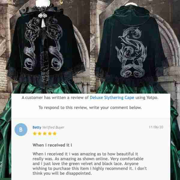 5 star Review of the Slytherin cosplay cape by Sydney gothic victorian customer and Harry Potter fan Betty