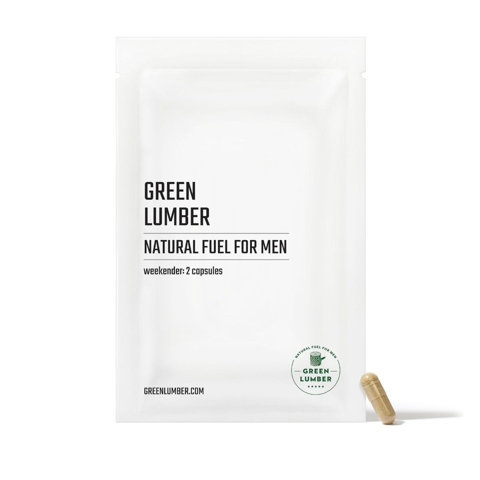 Green Lumber Natural Fuel For Men Weekender package front with capsule leaning against it