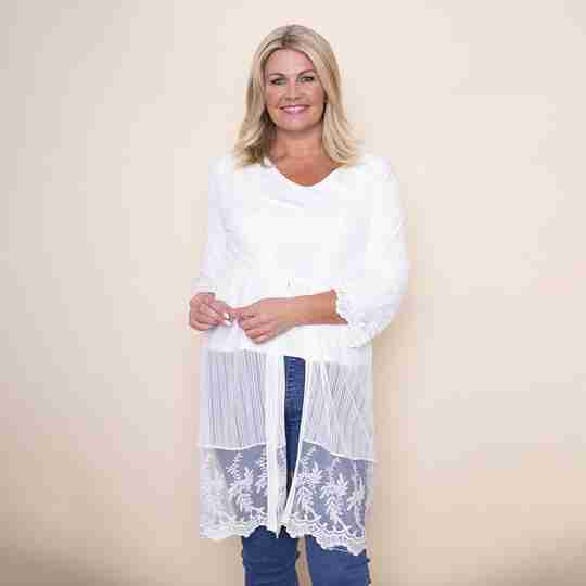 Embroidered Long Lace Cardi(White)