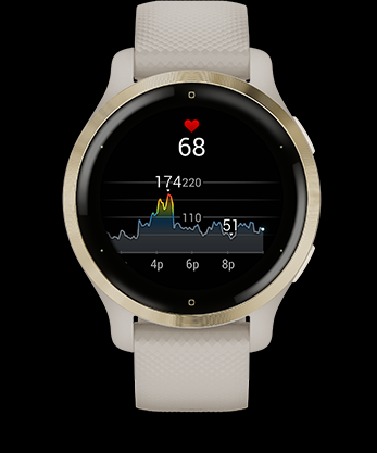 Garmin Venu 2 GPS Smartwatch The watch constantly samples your heart rate2 and will alert you if it stays too high or too low while you're at rest. It also helps gauge h