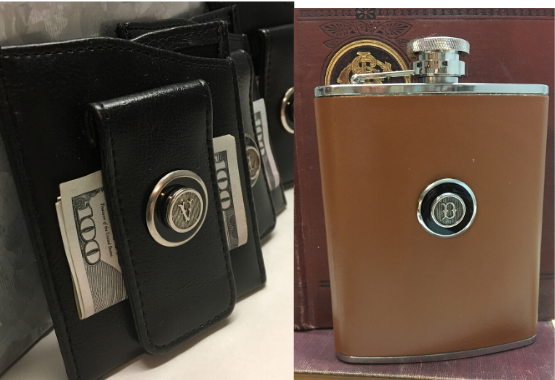 Initial Money Clip and Leather Flask