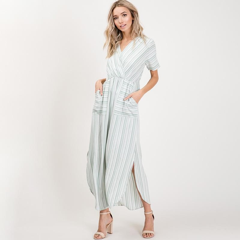 Suzy Stripe Maxi Dress Mint