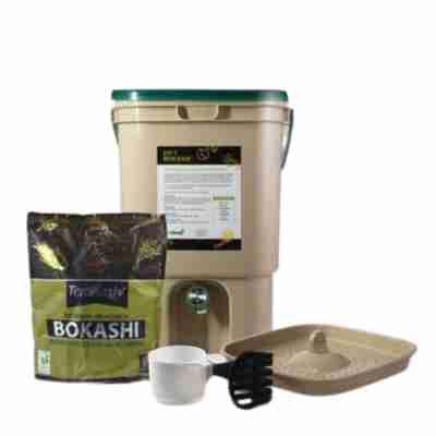 The Deluxe Bokashi Bucket Food Waste Fermenter Kit with 2 lb bag of Bokashi.