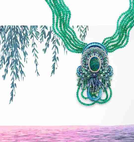 An opal and emerald necklace by Chopard