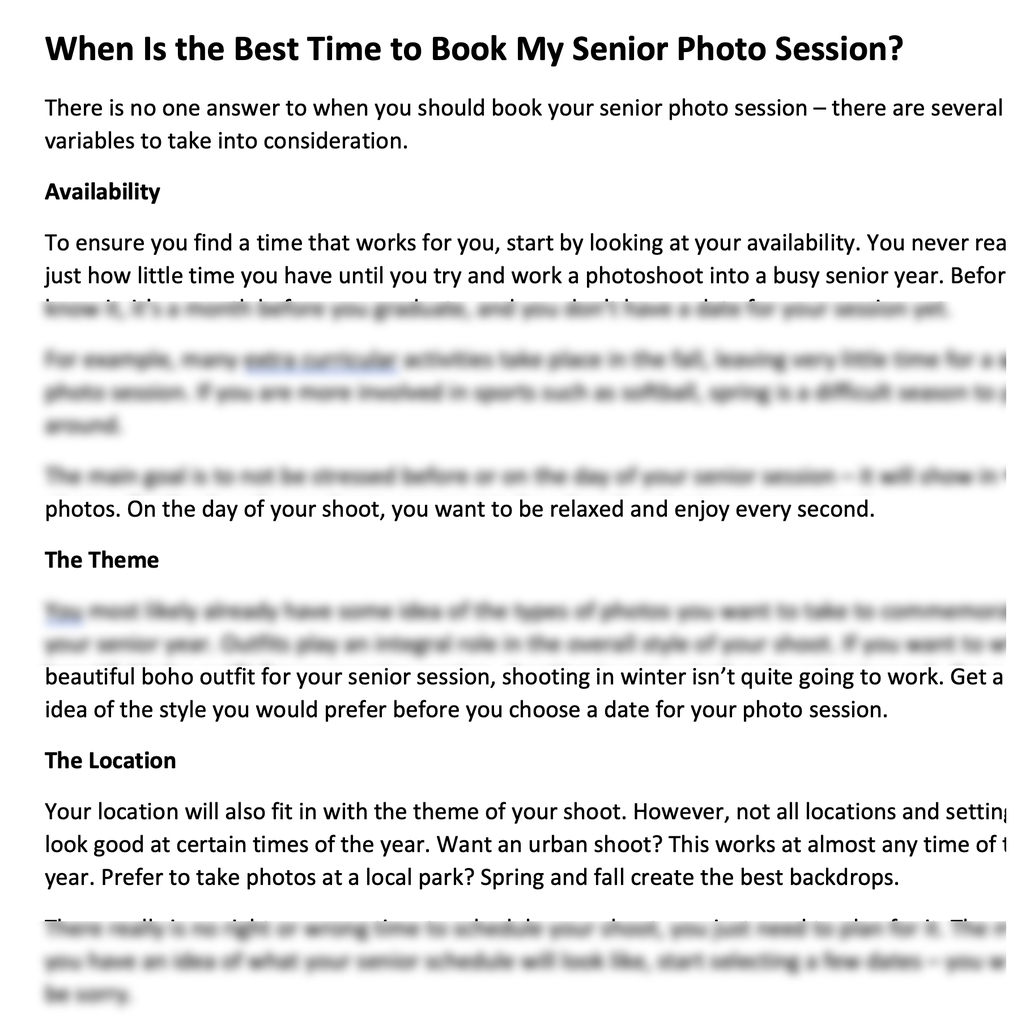 high school senior photography blog post