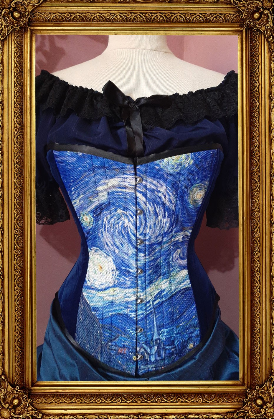 new Starry Night over bust tight lacing steel boned corset from Gallery Serpentine