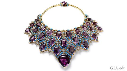 A Cartier-designed amethyst bib necklace
