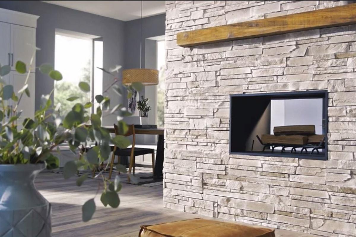 natural brick fireplace with timber