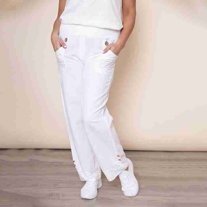 Stretch Waist Pocket Linen Trouser(White)