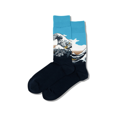 Gabby Maria Men's Hokusai's Great Wave Crew Socks