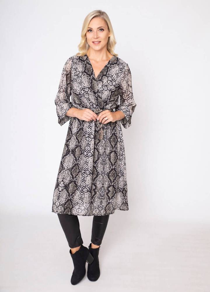 Snake Print Wrap Midi Dress Taupe