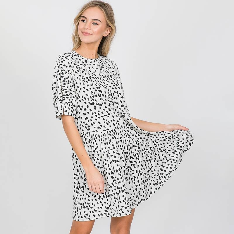 Doria Dalmatian Print Dress White