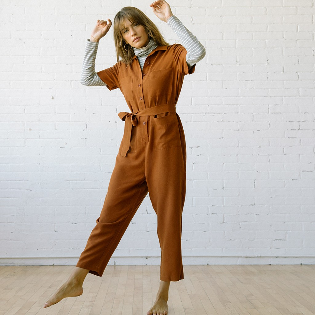 Finn Jumpsuit Clay Linen Tencel
