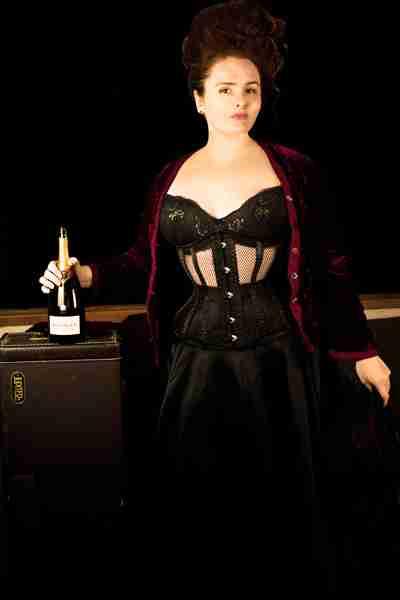corset model, Elizabeth Barrett-Smyth in the Gallery Serpentine Dark Desire mesh corset