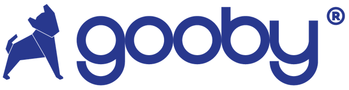 Goobypet blue logo with the origami dog logo