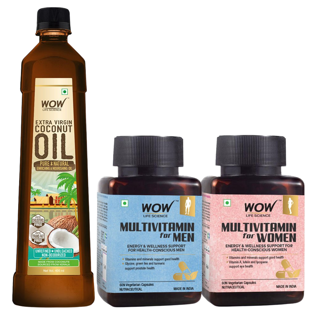 WOW Life Science Cold Pressed Extra Virgin Coconut Oil + Multivitamin For Men & Women Capsules