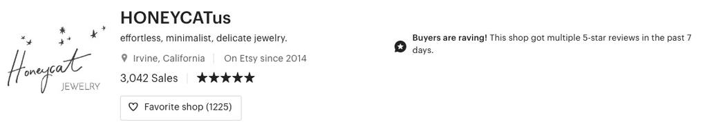 HONEYCAT Reviews on Etsy