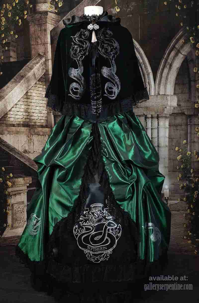 victorian fashion meets hogwarts in this victorian slytherin cosplay corset gown at Gallery Serpentine