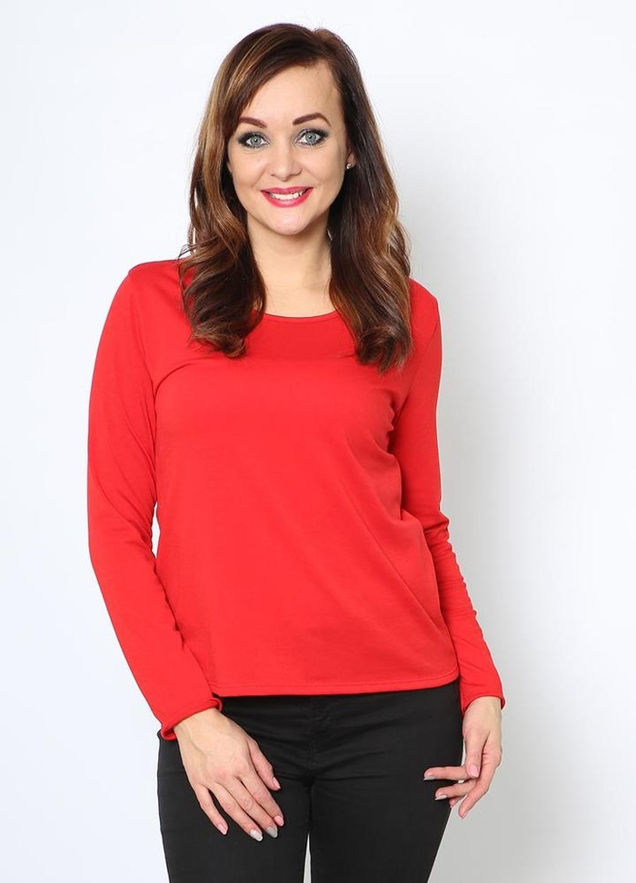 Basic Fleece Lined Top in Red