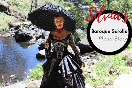 Silvia Hz in her Baroque Scrolls gown out in nature