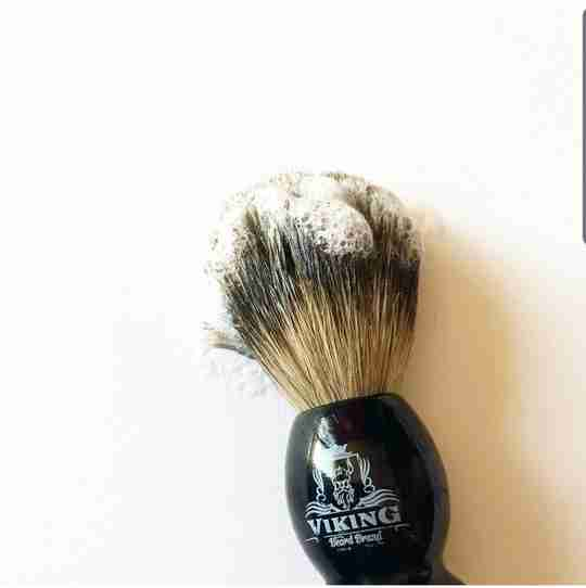 Lather on Viking beard brand badger brush