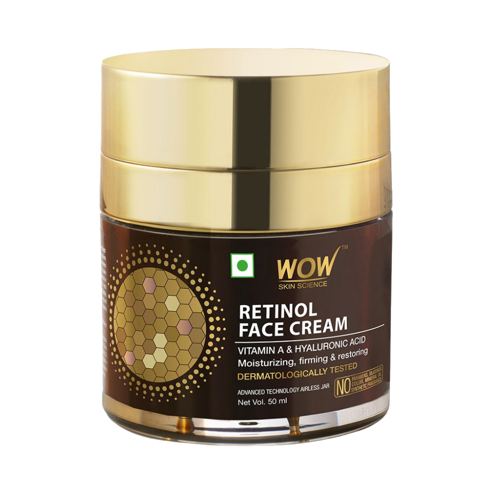 WOW Skin Science Retinol Face Cream - Oil Free, Quick Absorbing - For All Skin Types - No Parabens, Silicones, Color, Mineral Oil & Synthetic Fragrance - 50 ml