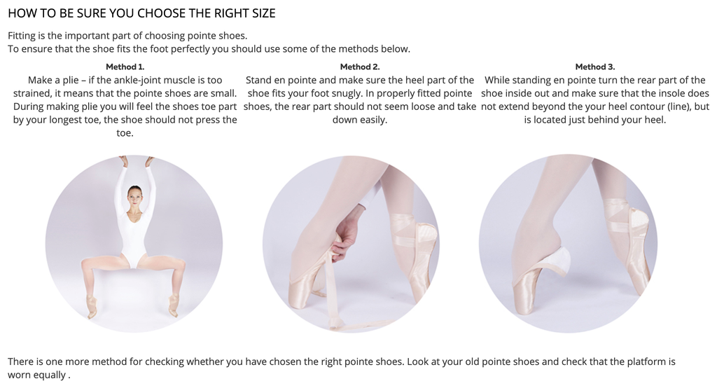 Nikolay Pointe Shoes Sizing