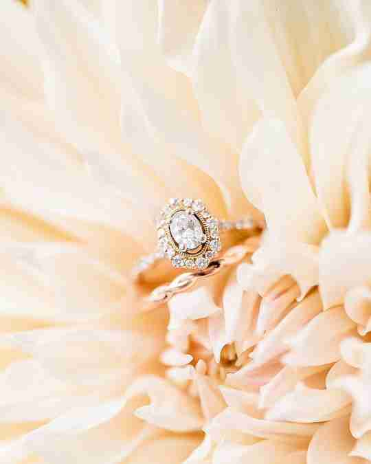 A Helzberg diamond ring in a flower