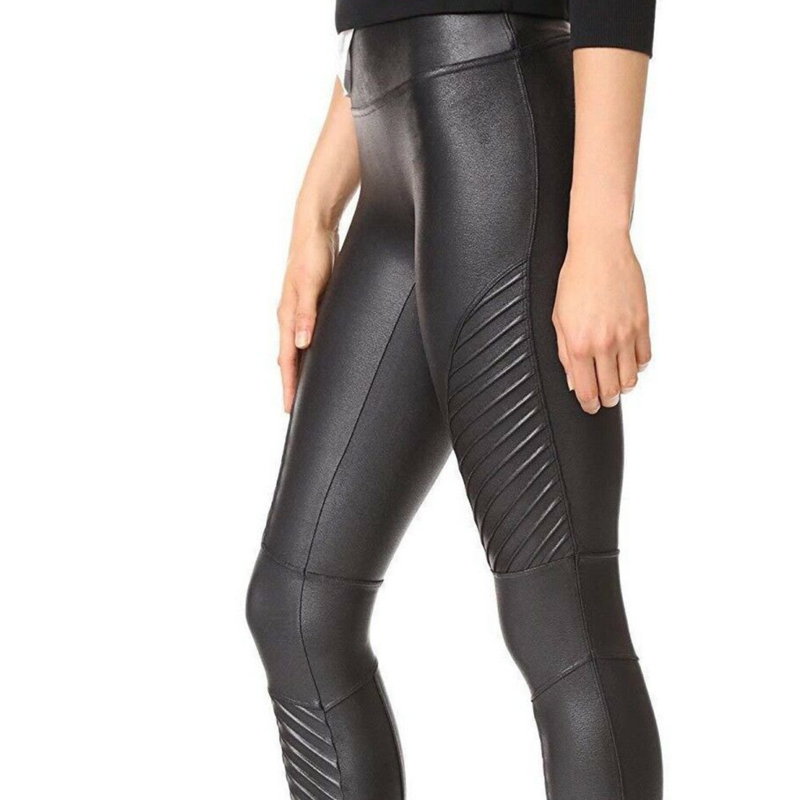 Wet Look Biker Leggings Black