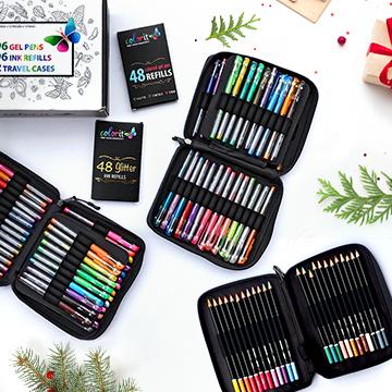 24 Colored Pencils + 96 Gel Pen Set