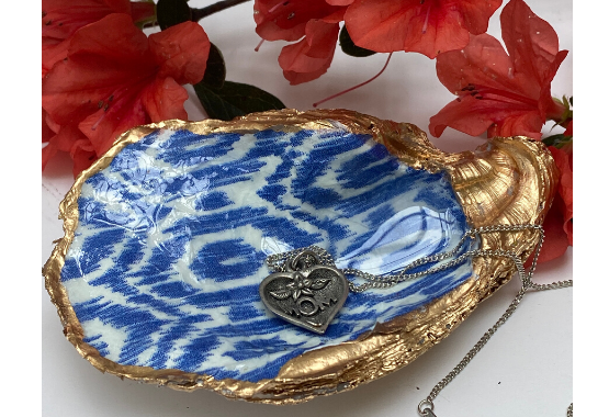 Blue and White Oyster Shell Jewelry Dish with Mother;s Day Necklace