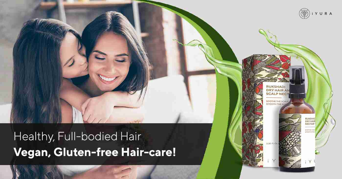Mother & Daughter with beautiful hair. the text says Healthy, Full-Bodied Hair. Vegan, Gluten-free Haircare!