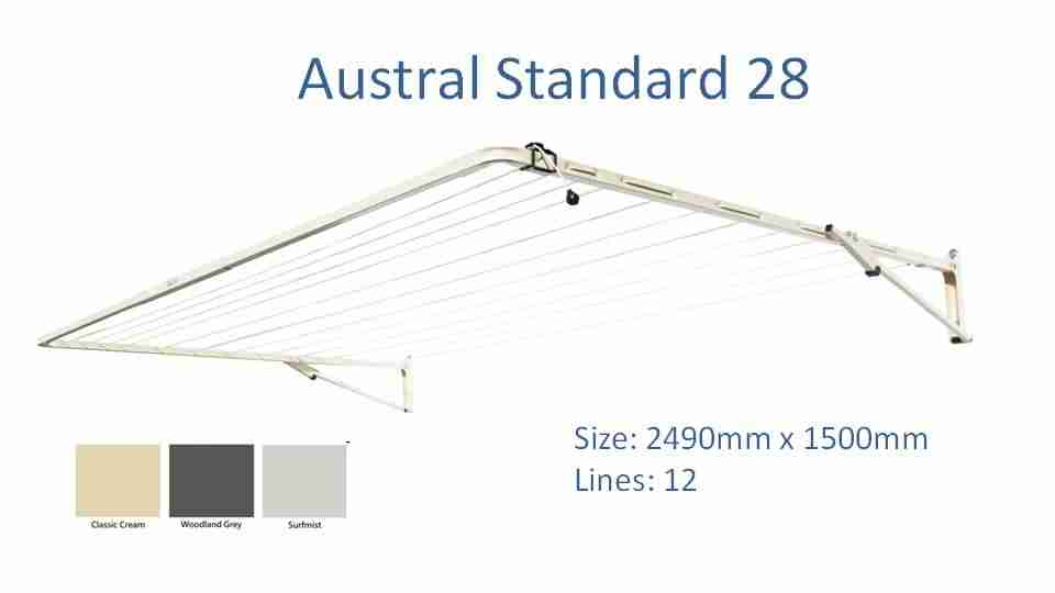Austral standard 2400mm wide colour options and dimensions