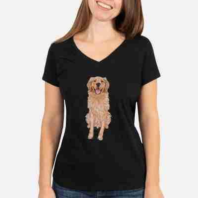 Moby the Golden Retriever - Women's Perfect V-neck Shirt