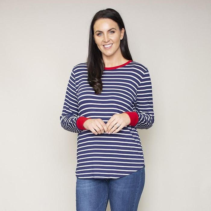 Katie Contrast Cuff Stripe Top (Cherry)
